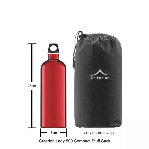 Down Sleeping Bags - Criterion Lady 500 Stuff Sack, 15 x 15 x 30 cm; 20 gms