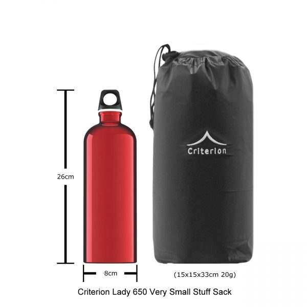 Down Sleeping Bags - Criterion Lady 650 Stuff Sack, 15 x 15 x 33 cm; 20 gms