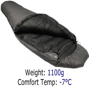 Down Sleeping Bags - Criterion Lady 500 - Total Weight 1100 gms; Temperature -7 °C