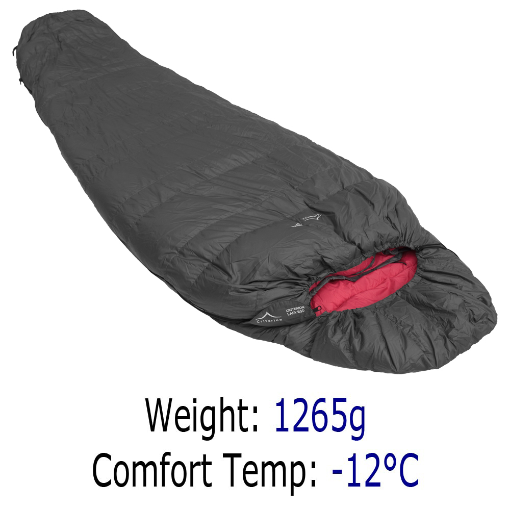 Down Sleeping Bags - Criterion Lady 650 - Total Weight 1265 gms; Temperature -12 °C