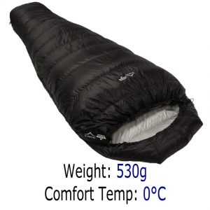Down Sleeping Bags - Criterion Quantum 200 - Total Weight 530 gms; Temperature 0 °C. THIS IS OUR VERY LIGHTEST SLEEPING BAG !!