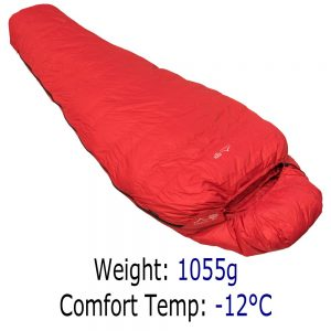 4 Season Sleeping Bag - Criterion Prime 550 - Total Weight 1055 gms; Temperature -12 °C