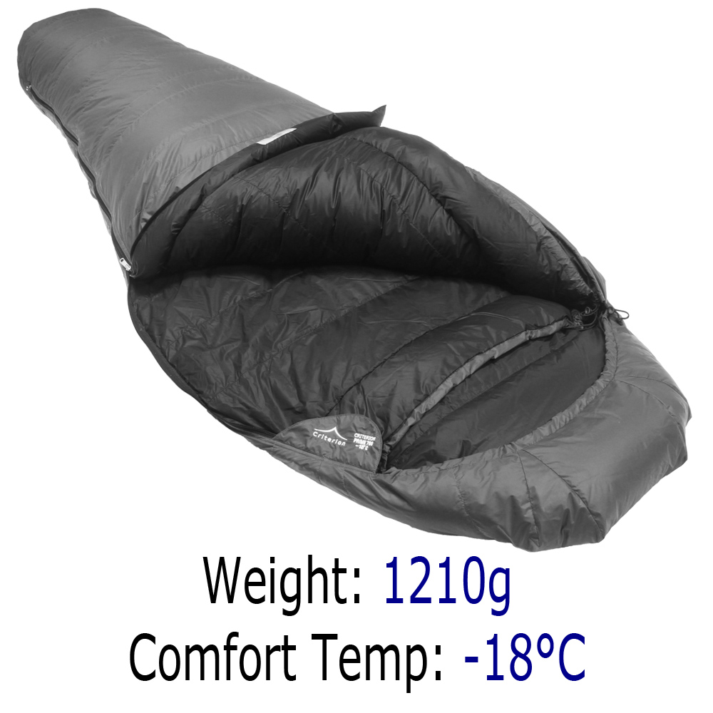 Down Sleeping Bags - Criterion Prime 700 - Total Weight 1210 gms; Temperature -18 °C