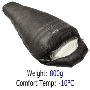 Down Sleeping Bags - Criterion Quantum 450 - Total Weight 800 gms; Temperature -10 °C