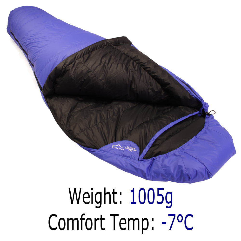 Down Sleeping Bags - Criterion Traveller 500 - Total Weight 1005 gms; Temperature -7 °C