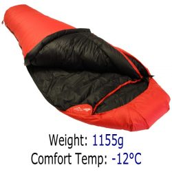 Down Sleeping Bags - Criterion Traveller 650 - Total Weight 1155 gms; Temperature -12 °C