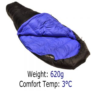 Down Sleeping Bags - Criterion Ultralight 200 - Total Weight 620gms; Temperature +3 °C