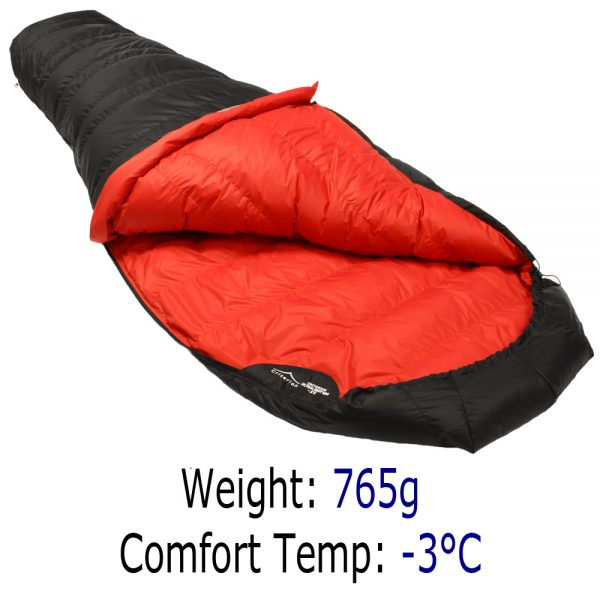 Down Sleeping Bags - Criterion Ultralight 350 - Total Weight 765 gms; Temperature -3 °C