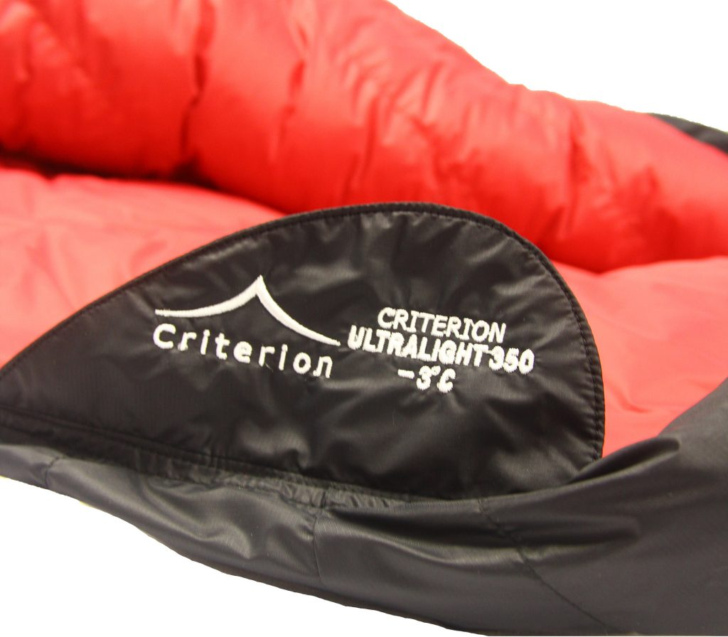 Down Sleeping Bags - Criterion Ultralight 350 Zip Retainer - Total Weight 765 gms; Temperature -3 °C