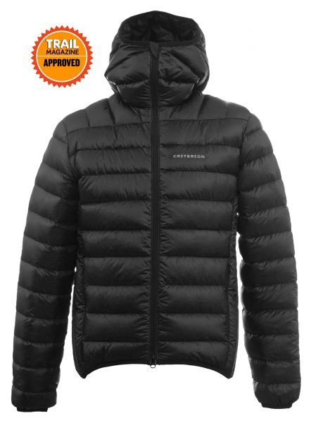 Criterion Activity Ultralight Down Jacket | Trail Magazine Approved | Black - Front View | Image 1000 x 1357px