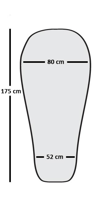 Outline showing Lady range sleeping bag shape