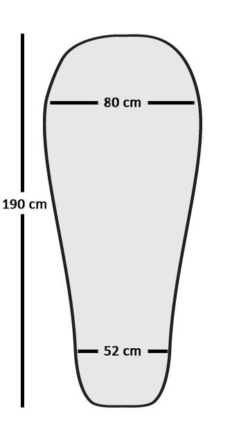 Outline showing Traveller/Prime range sleeping bag shape