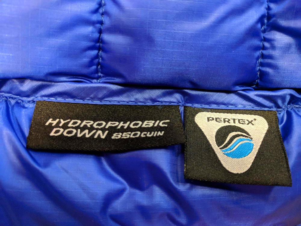 Hydro Down and Pertex tags inside the Activity Hydrodown Jacket
