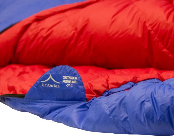 Down Sleeping Bags - Criterion Prime 400 Neck Retainer- Total Weight 905 gms; Temperature -7 °C