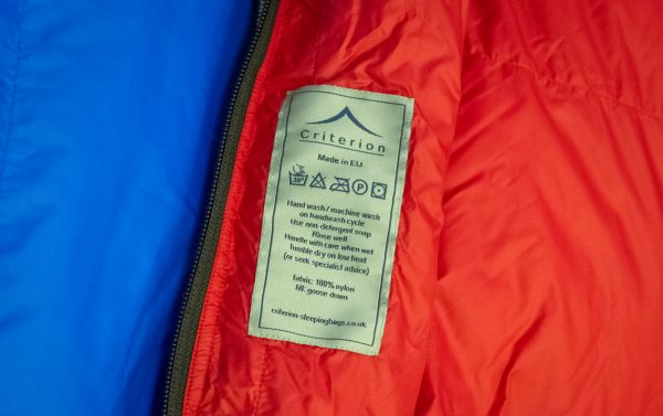 Down Sleeping Bags - Criterion Prime 400 Care Guide - Total Weight 905 gms; Temperature -7 °C