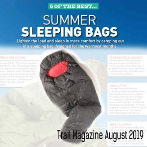 "A merged image taken from Trail Outdoor Magazine's August 2019 issue article - ""5 of the Best Summer Sleeping Bags"" of which the Criterion Ultralight 350 was included"